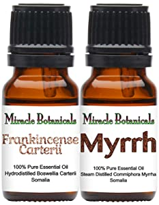 Miracle Botanicals Frankincense and Myrrh Essential Oil Set - 100% Pure Essential Oils of Frankincense Carterii and Myrrh - Therapeutic Grade - Set of 2 10ml