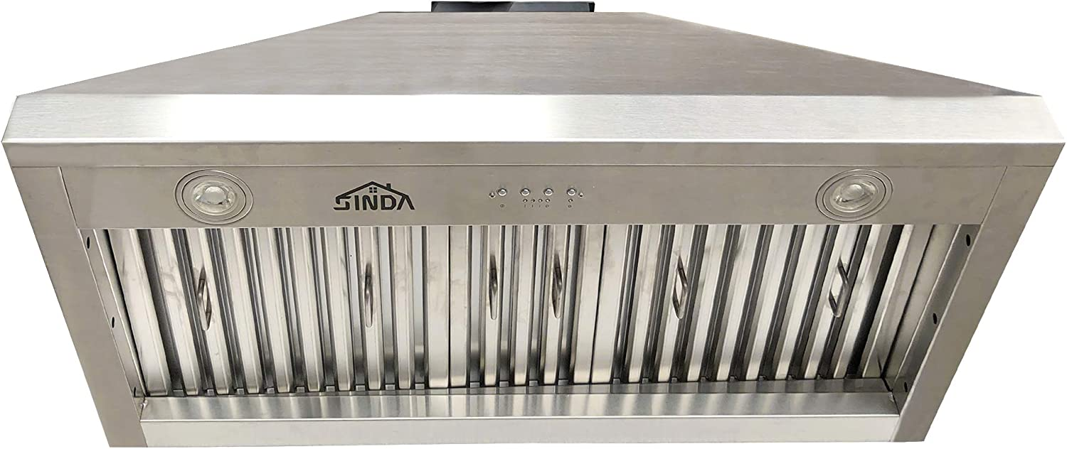 Baffle Filter 30Wide Stainless Steal Vent with Liner and Internal Motor SINDA Sweep Front Rivets Island Mount Solid Copper Range Hood with High Airflow Centrifugal Blower