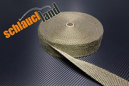 10m Titan Hitzeschutzband 25mm 1400/°C 10 Kabelbinder SCHLAUCHLAND*** Auspuffband Thermoband Kr/ümmerband Heat Wrap Basaltfaser Isolierband Hitzeschutz