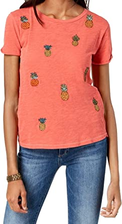 Lucky Brand Womens Pineapple Embroidered Short Sleeve Graphic T-Shirt