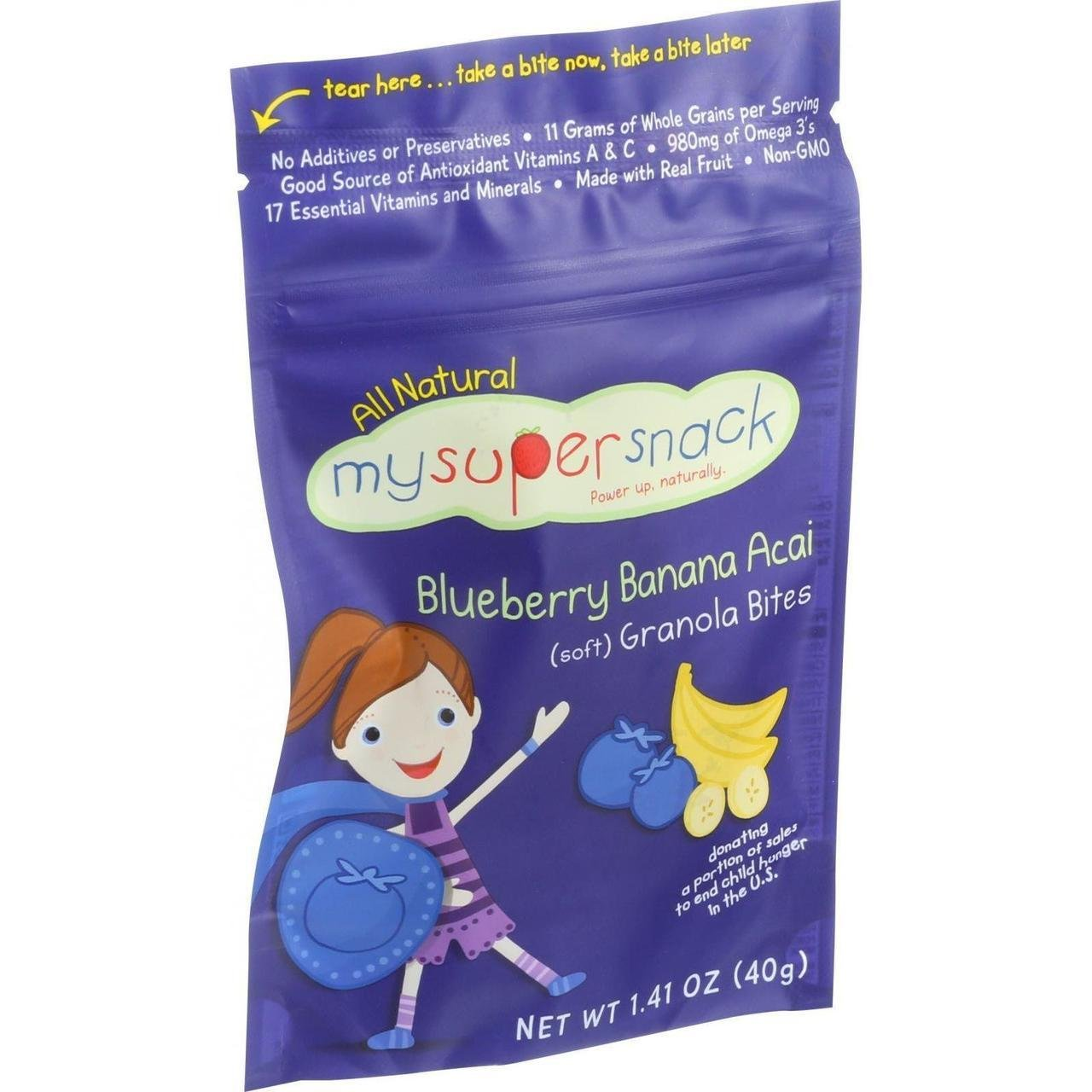 Mysupersnack Soft Granola Bites Blueberry Banana Acai 1.41 Oz Case Of 6 by Mysupersnack (Image #1)