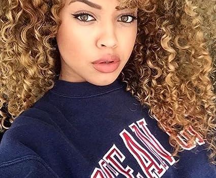 Peluca Eseewigs, rizada afro, kinky, para mujer de fibras sintéticas, color marrón