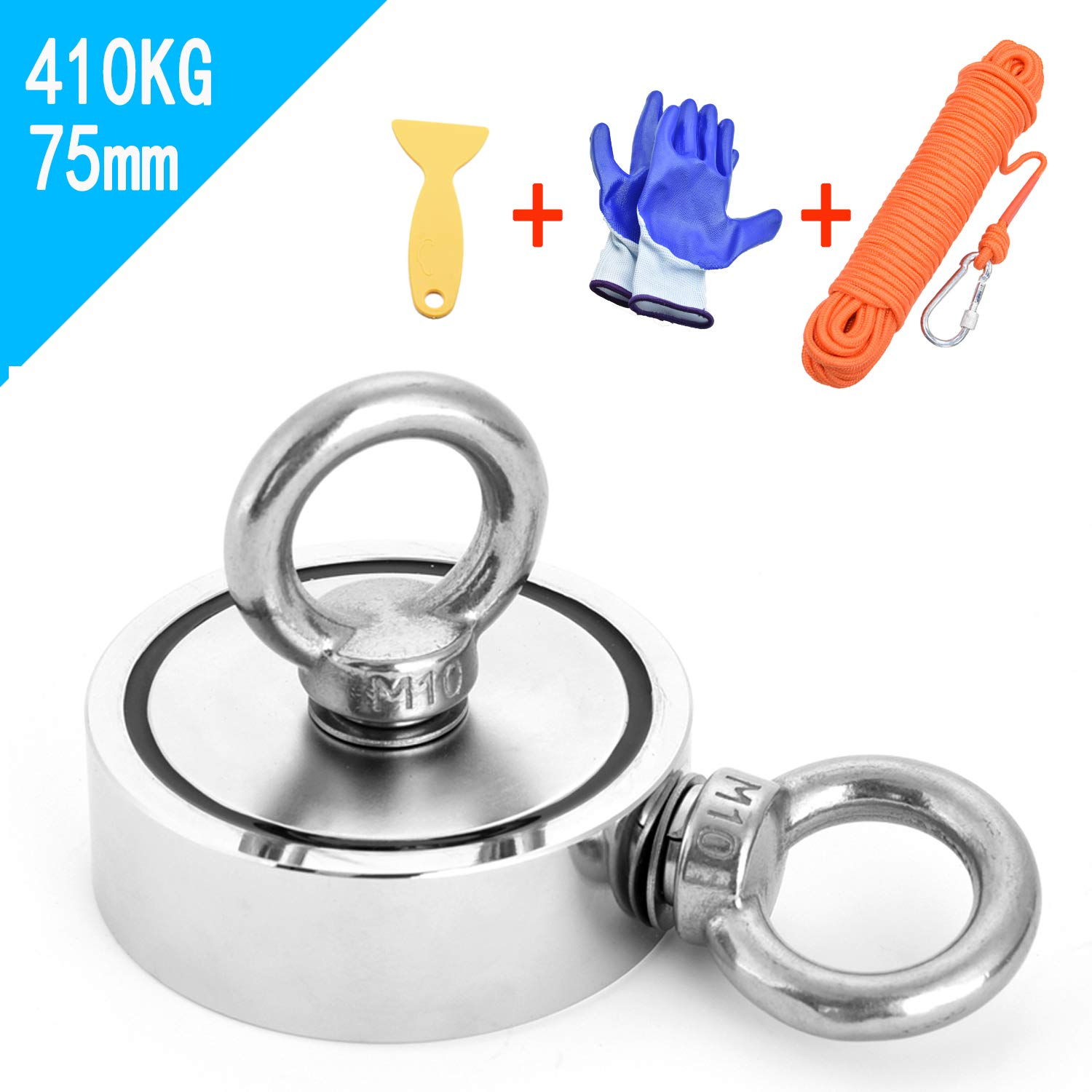 Double Sided Magnet Fishing Magnet with Rope x 66ft(20m), Neodymium Magnet with 2 Eyebolt, Combined 903LBS(410KG) Pulling Force, Perfect for Magnetic Fishing and Salvage in The River