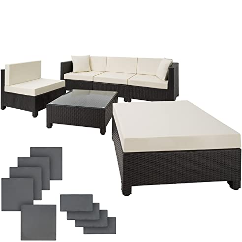 TecTake Hochwertige Aluminium Luxus Lounge Mit 2 Bezugssets Poly Rattan  Sitzgruppe Sofa Rattanmöbel Gartenmöbel Mit