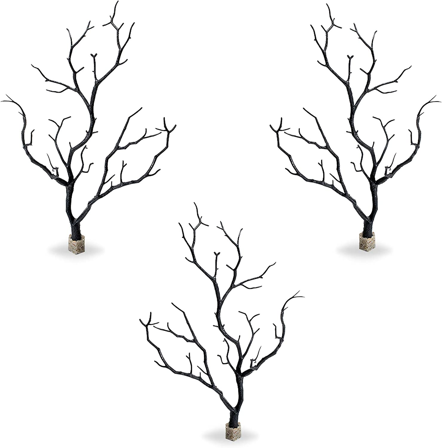 Current USA 12.5'' Tall Black Manzanita Branches Molded Aquarium Decor with Weighted Stone Base   Natural, Lifelike Fish Tank Decoration   Non-Toxic Plastic   3 Pieces