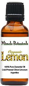 Miracle Botanicals Organic Lemon Essential Oil - 100% Pure Citrus Limonum - Therapeutic Grade - 30ml/1oz.