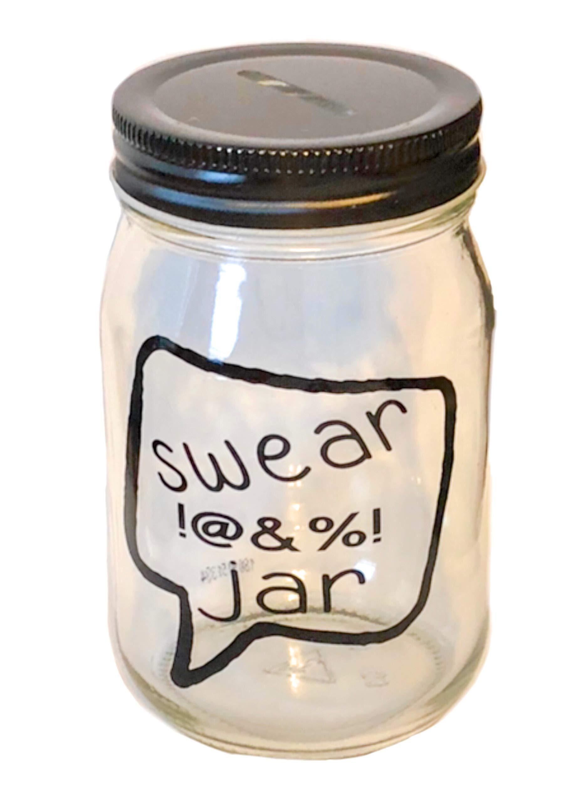 Swear Jar Mason jar Bank Curse Jar Profanity Jar Funny Gift Piggy Bank Coin Collection Swearing Jar Coin Slot Lid