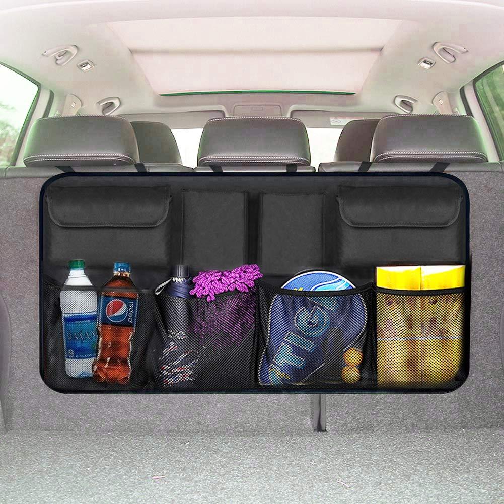 EldHus Trunk Organizer Car Storage - Auto Organizer for SUV Van Container Car Organization Collapsible Compartment Pocket Mesh by EldHus