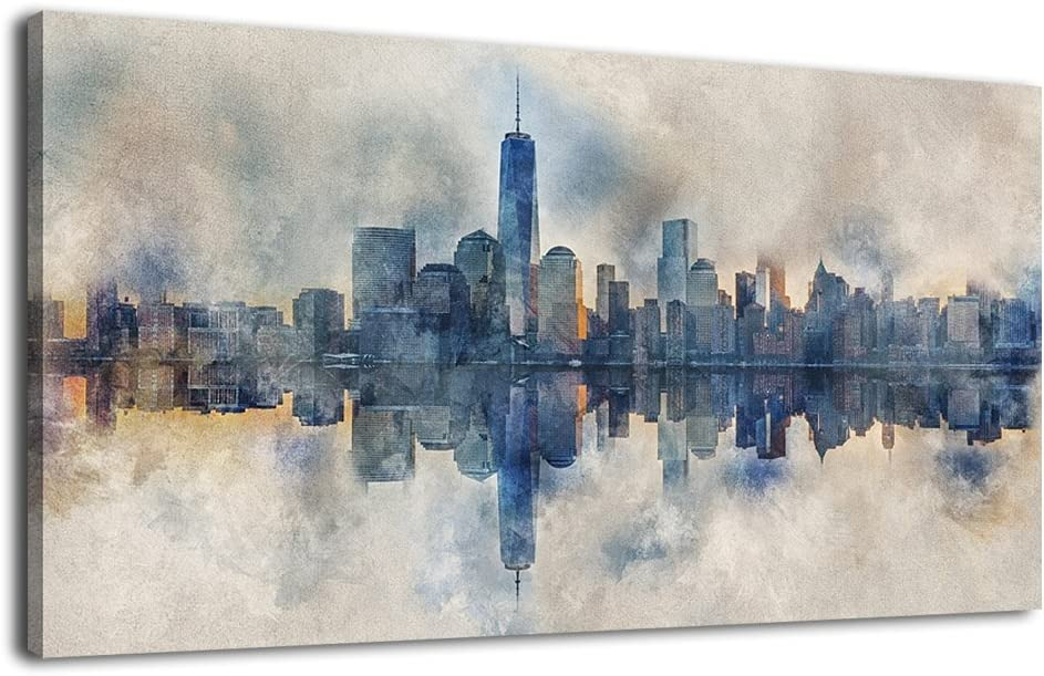 "Canvas Wall Art Abstract Painting Prints New York Skyline Reflection in Water Modern Canvas Artwork Panoramic Landscape Contemporary Wall Art Pictures Grey Blue for Home Office Decoration 20"" x 40"""