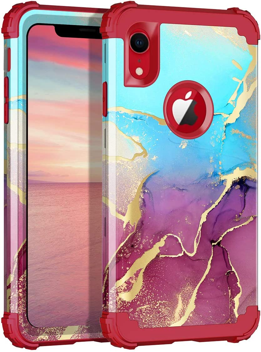 Rancase for iPhone XR Case,Three Layer Heavy Duty Shockproof Protection Hard Plastic Bumper +Soft Silicone Rubber Protective Case for Apple iPhone XR 6.1 inch,Blue/Red