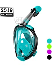OUSPT Full Face Snorkel Mask, Snorkeling Mask with Detachable Camera Mount, Panoramic 180° View Upgraded Dive Mask with Safety Breathing System, Dry Top Set Anti-Fog Anti-Leak