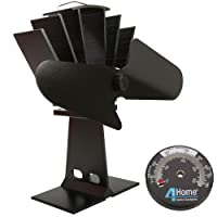 4YourHome Silent Heat Powered Stove Fan + Free Stove Thermometer Satin, Black