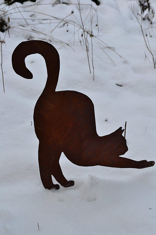 Qualitativ hochwertige Gartendeko Rost Maison en France Gartenstecker Katze aus Metall Katze auf Stab zum Einstecken in Erde,frostsicher Edelrost