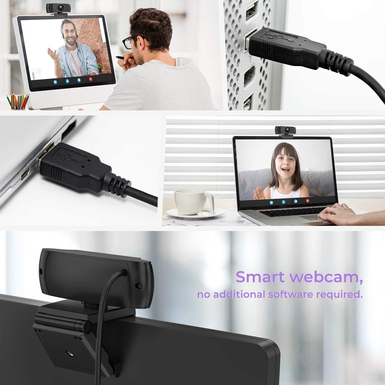 Mac und Android Online-Unterricht,USB Webcam kompatibel mit Windows Konferenz PC Desktop Webcam 1080P mit Mikrofon 1080P HD Webcam f/ür Laptop Computer Web-Kamera f/ür Videochat und Aufnahme