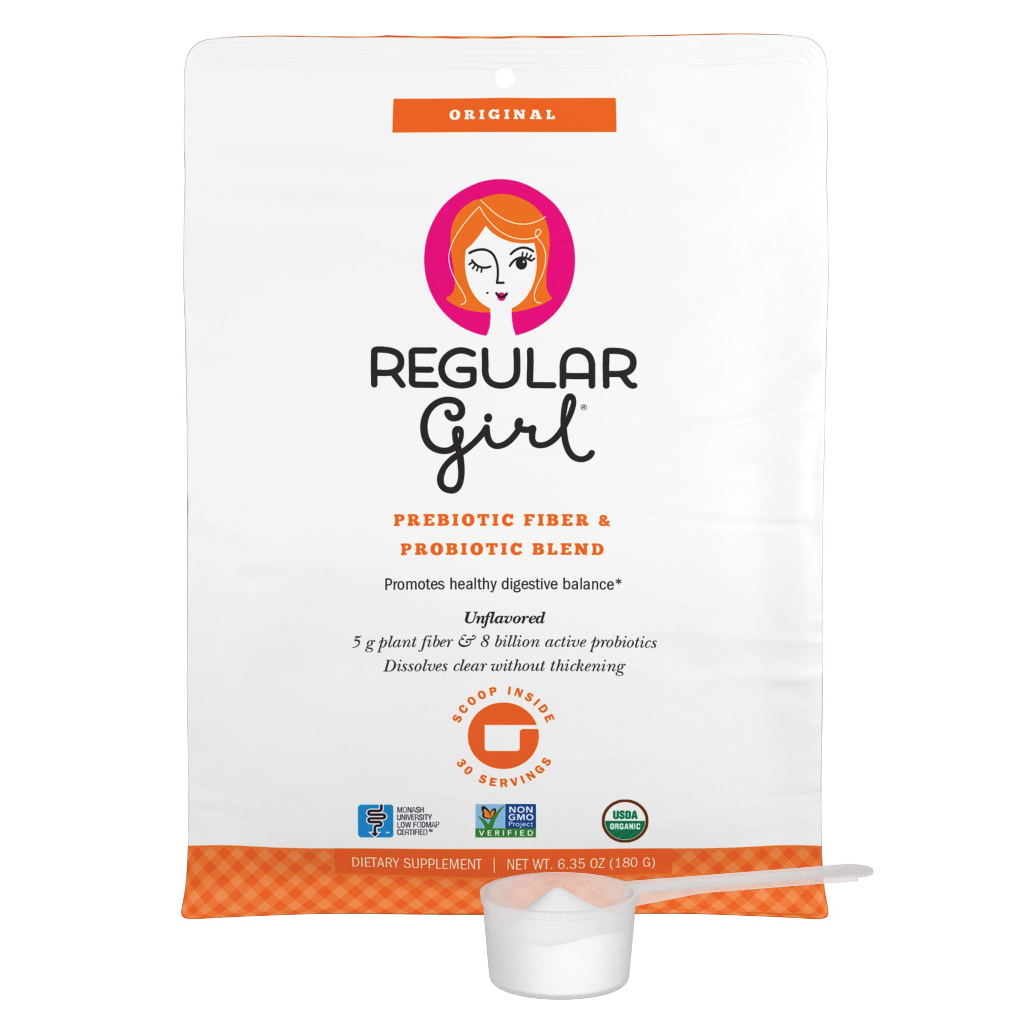 Regular Girl - Organic Powder, Low FODMAP Prebiotic Fiber and Probiotic Support for Comfortable Digestion and Immunity, 30 Servings