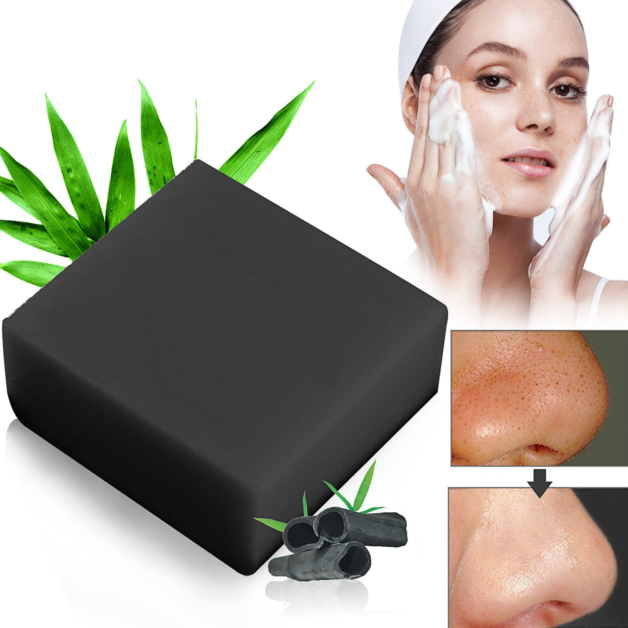 Bamboo Charcoal Handmade Bamboo Charcoal Soap Facial Soaps. Ldre AMAM Entschlack Face & Body Cleanser for Acne, Eczema, Facial Cleansing Treatment for Acne Prone Skin LDreamAM