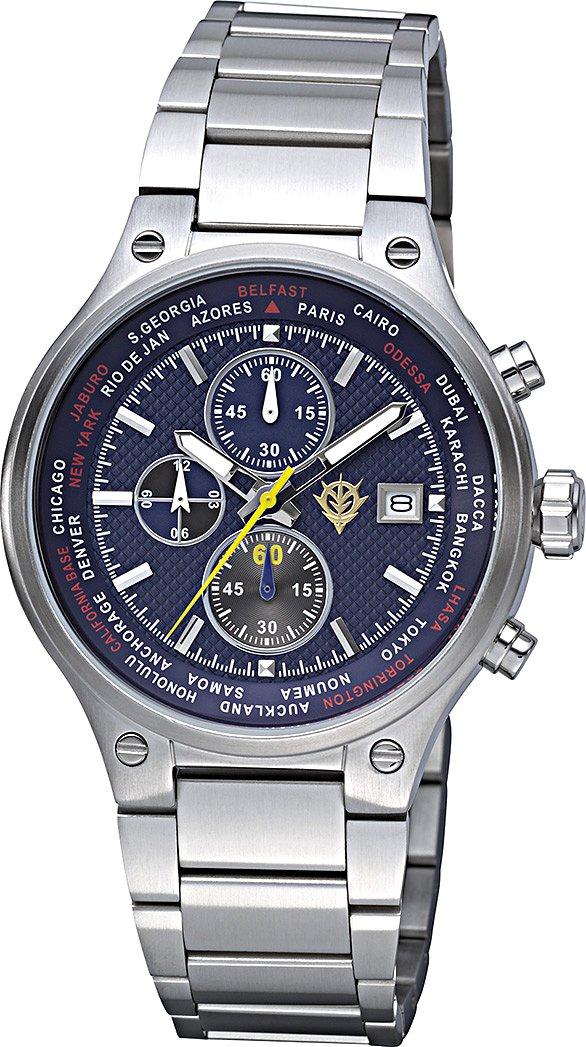 ガンダム 腕時計 アナログ ランバラル モデル 時分秒日付表示 ストップウォッチ 機能付き青 リズム時計 9ZR002MG11 B01M5F3S5W