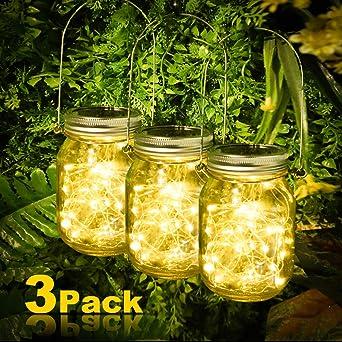 Luces de Jardin Solares, Luz Solar Jardín, Juego de 3 Lámparas ...