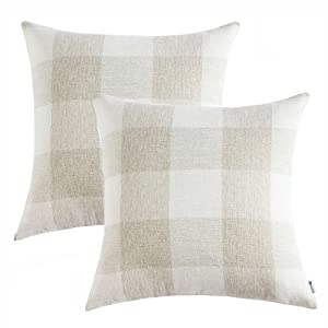 Anickal Set of 2 Beige and White Buffalo Check Plaid Throw Pillow Covers Farmhouse Decorative Pillow Covers 18x18 Inches