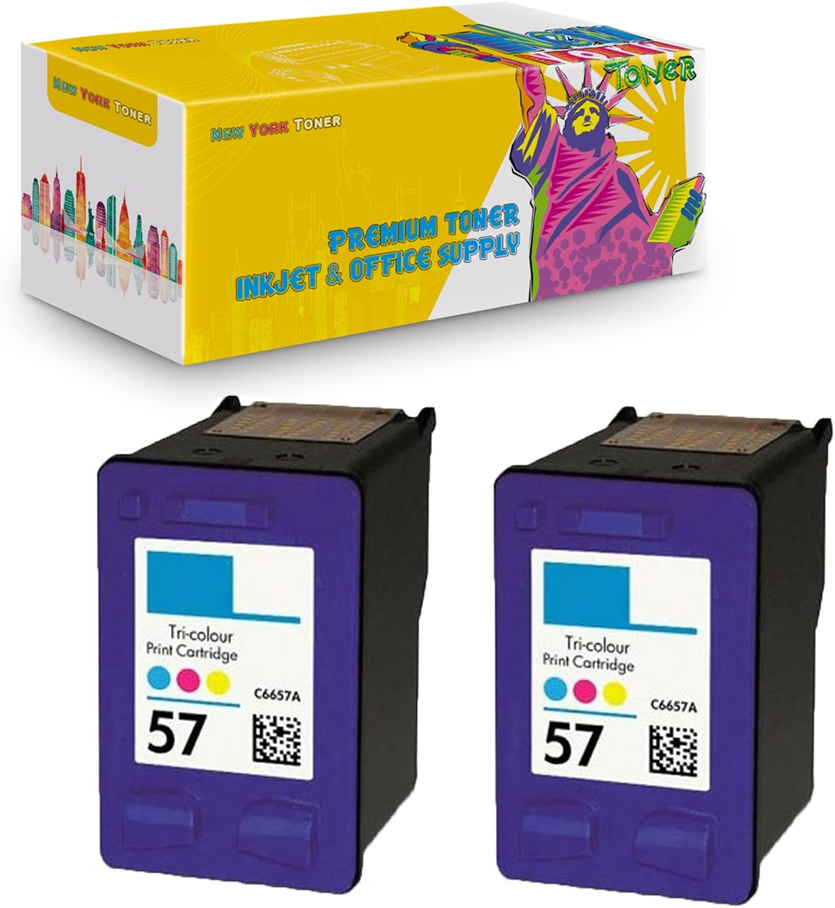 NYT Compatible High Yield Inkjet Cartridge Replacement for HP C6657 for HP Officejet 4110 Color, 2-Pack 6100 6110 5510 HP 57