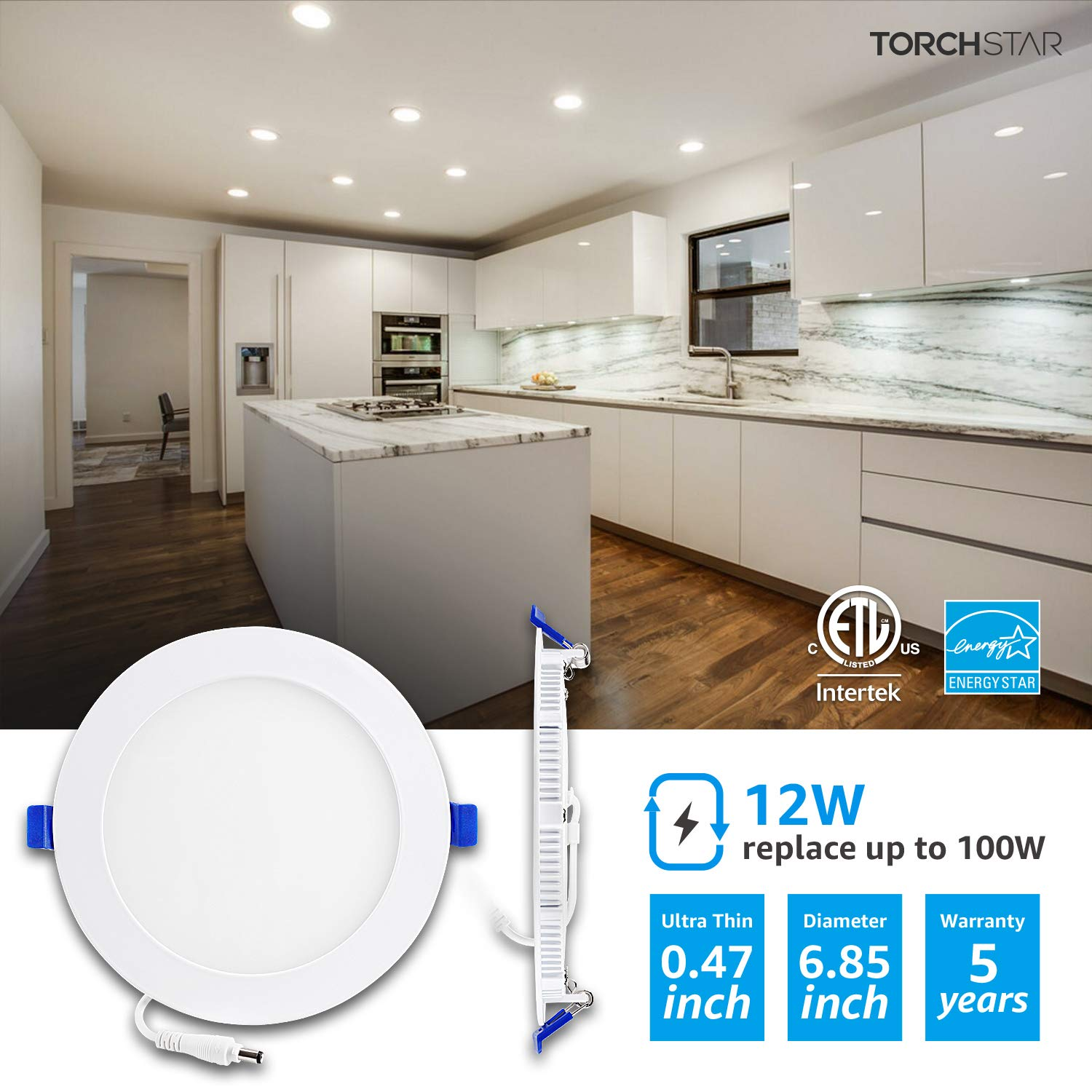 TORCHSTAR 12W 6'' Ultra-Thin Recessed Ceiling Light with Junction Box, 4000K Cool White, Dimmable Downlight, 850lm 100W Equiv, ETL and Energy Star Certified Wafer Light, Pack of 6 by TORCHSTAR (Image #4)