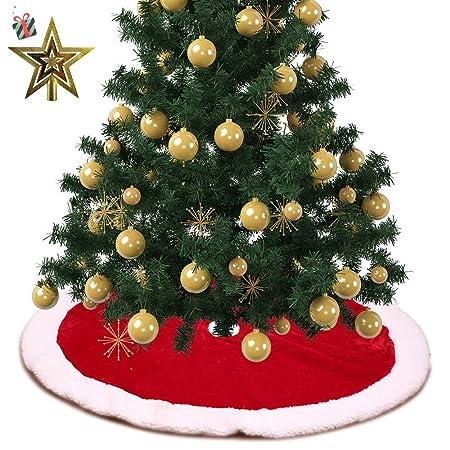 Treer Cachemira Roja Faldas Arbol Navidad, Árbol de Navidad Falda ...