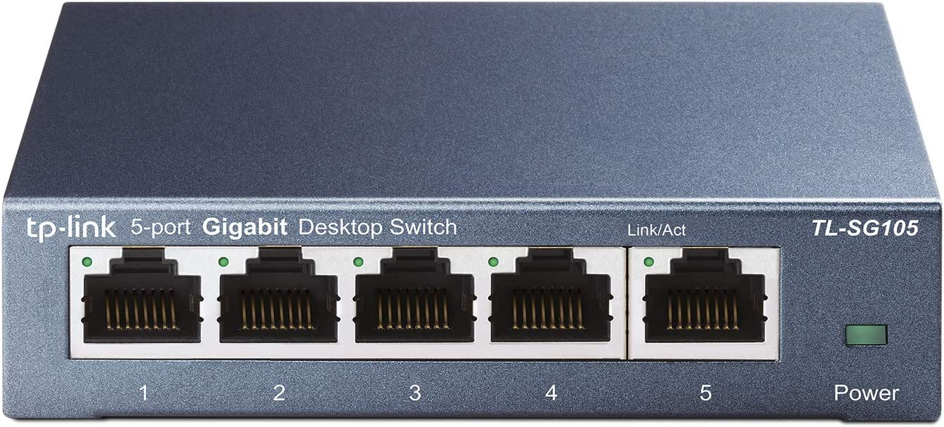 TP-Link TL-SG105 - Switch 5 Puertos 10/100/1000 Switch ethernet, Switch gigabit, Indicador del estado, acero inoxidable con Super disipación de calor, IGMP snooping, QoS