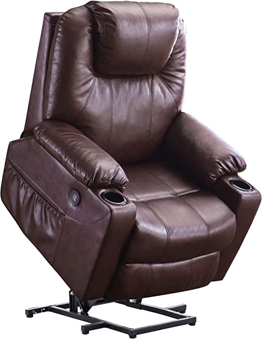 Mcombo Electric Power Lift Recliner Chair Sofa with Massage and Heat for Elderly, 3 Positions, 2 Side Pockets and Cup Holders, USB Ports, Faux Leather