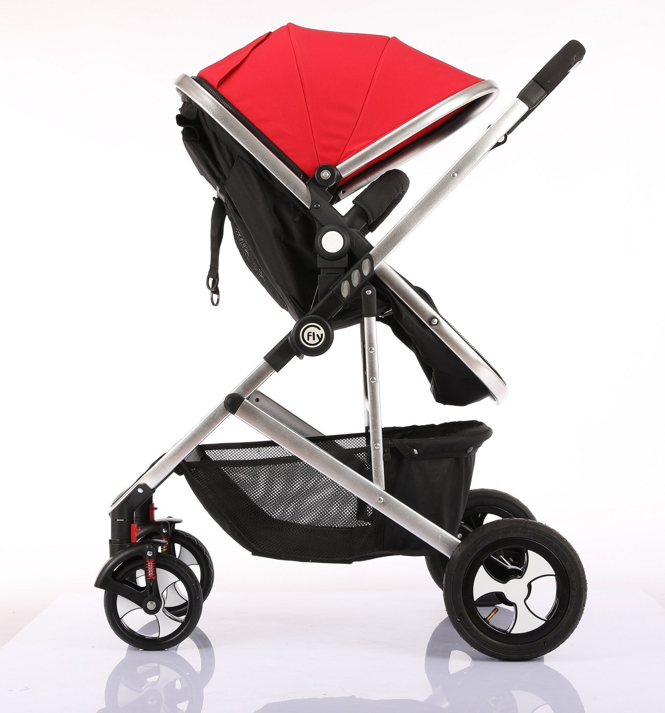 Fly Kids Pram Travel System 3 in 1 Combi Stroller Buggy Baby Child Pushchair Reverse or Forward facing Rain Cover Mosquito Net Bottle Holder Foldable with FootMuff Econo Direct Ltd