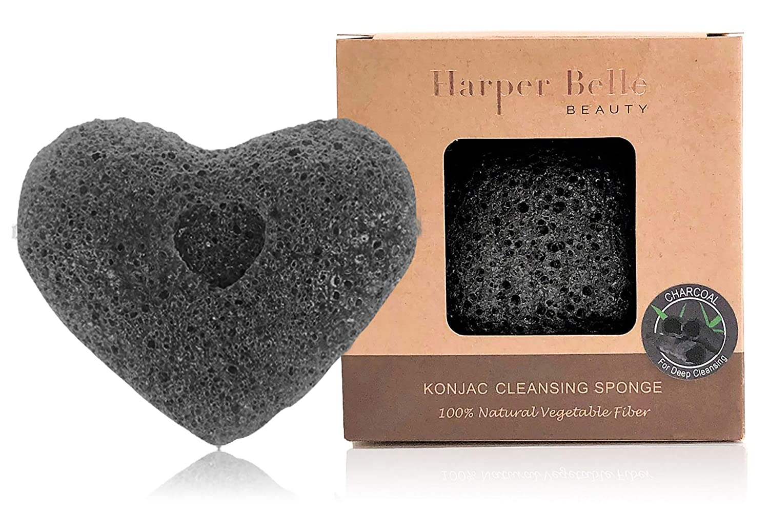 Harper Belle Beauty Organic Konjac Facial & Body Cleansing Heart Sponge | Natural & Gentle Exfoliant | Bamboo Charcoal for Oily & Acne-Prone Skin