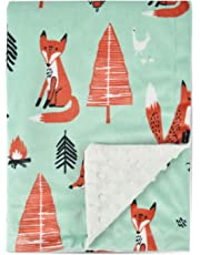 Boritar Fox Baby Blanket Soft Minky with Double Layer Dotted Backing Ultra Soft and Cute Kids Blanket for Toddler Bed, 30 x 40 Inch Green