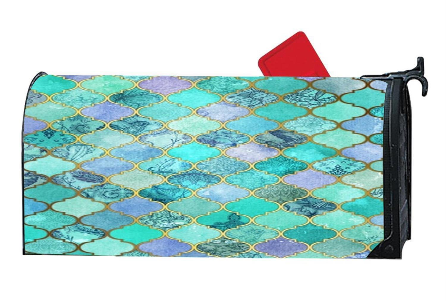Green And Blue Mermaid Personal Mailbox Covers Home Summer Fall Magnetic Mailbox Cover by Mailboxcoverfhiw