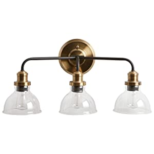 """Rivet Mid-Century Modern Wall Sconce, 11.5""""H, With Bulb, Matte Black & Gold with Glass Shade"""