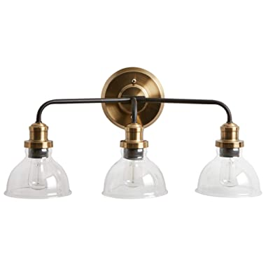 Rivet Mid-Century Modern Wall Sconce, 11.5 H, With Bulb, Matte Black & Gold with Glass Shade