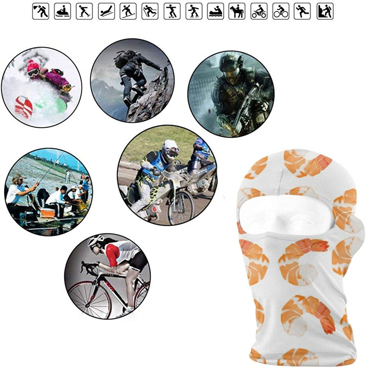 CAClifestyle Shrimp Unisex Windproof Balaclavas Full Face Mask Hood