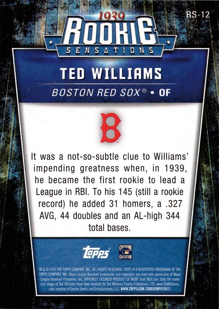 2015 Topps Update Rookie Sensations #RS-12 Ted Williams Baseball Card