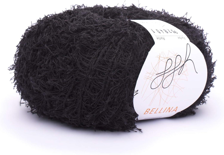 ggh Bellina   Baumwolle Mischung   32g Wolle zum Stricken oder Häkeln    Effektwolle   Farbe 32   Schwarz