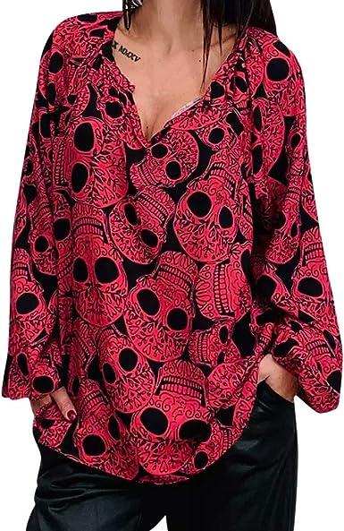 Donna Taglie Forti Da Donna Maniche Corte Teschio Rose Stampa Lunga Tunica Top T-shirt