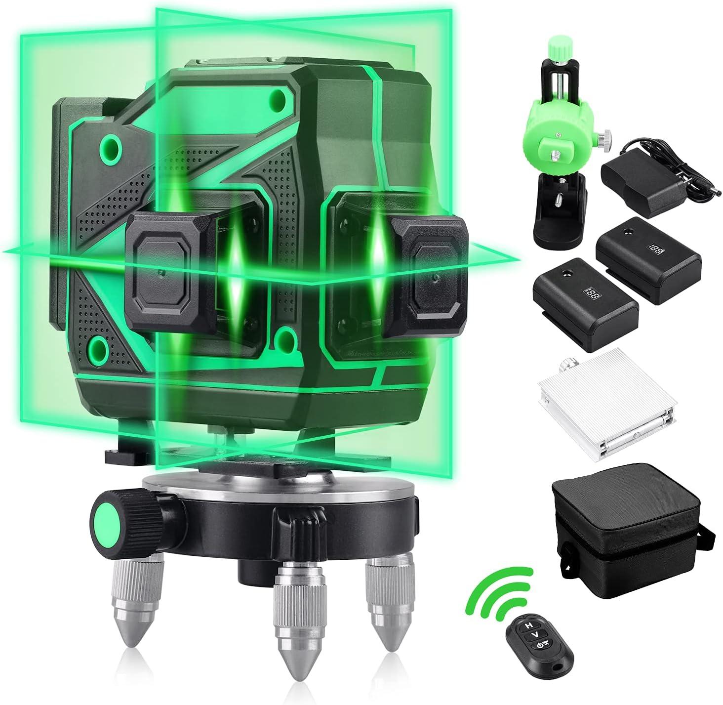 Nivel Laser Autonivelante Líneas Verde 45M 150 Ft Rotativo De 360 Rotacion Pisos