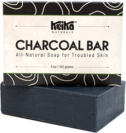 Keika Naturals Charcoal Black Soap Bar for Acne, Eczema,
