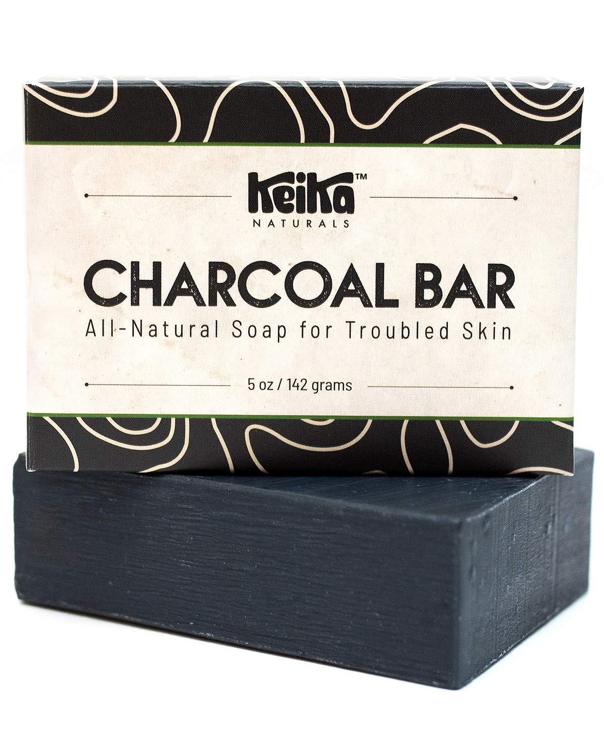 Keika Naturals Charcoal Black Soap Bar for Acne, Eczema, Psoriasis, Face, Body, Men Women Teens with Oily Skin, 5 oz. (Charcoal, 1-Pack)