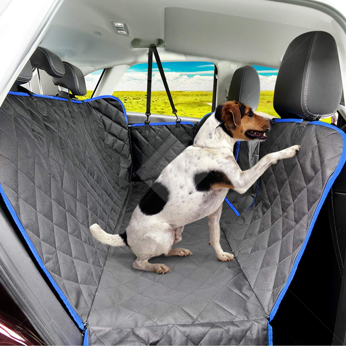 SUPSOO Dog Car Seat Cover Waterproof Durable Anti-Scratch Nonslip Back Seat Pet Protection Dog Travel Hammock with Mesh Window and Side Flaps for Cars/Trucks/SUV by SUPSOO (Image #9)