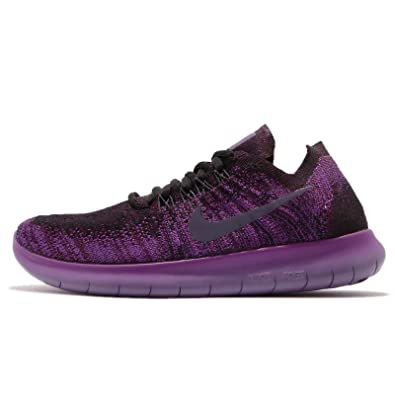 c3a9fe710f4df NIKE Women s Free Rn Flyknit 2017 Black Dark Raisin-Deadly Pink Running  Shoes (