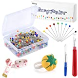 Pllieay 250 Pieces Sewing Pins 38mm Multicolor Glass Ball Head Pins Straight Quilting PinsIncluding Sewing Seam Ripper and S