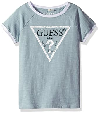 ee197896480 GUESS Girls' Big Short Sleeve Classic Triangle Logo T-Shirt, Icing Blue 7
