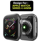 Taslar Soft Slim Flexible TPU Anti-Scratch Lightweight Protective Full Case Cover Screen Protector for Apple Watch iWatch Series 4 44mm (Black)