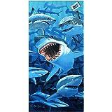 "Copa Shark Invasion Terry Velour Cotton Deluxe Beach / Bath Towel 28"" X 58"""