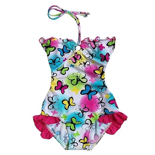 5b49f0ab97 Amazon.com: BAOHULU Girls Swimsuit 3-12 Years One-Piece Butterfly ...