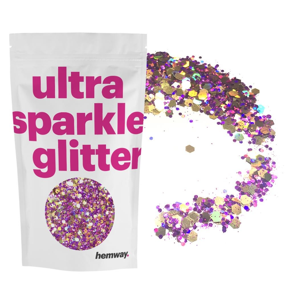 Hemway Gold Purple Holographic Mix Glitter Chunky Multi Purpose Dust Powder Arts & Crafts Wine Glass Decoration Weddings Flowers Cosmetic Face Eye Body Nails Skin Hair Festival 1kg