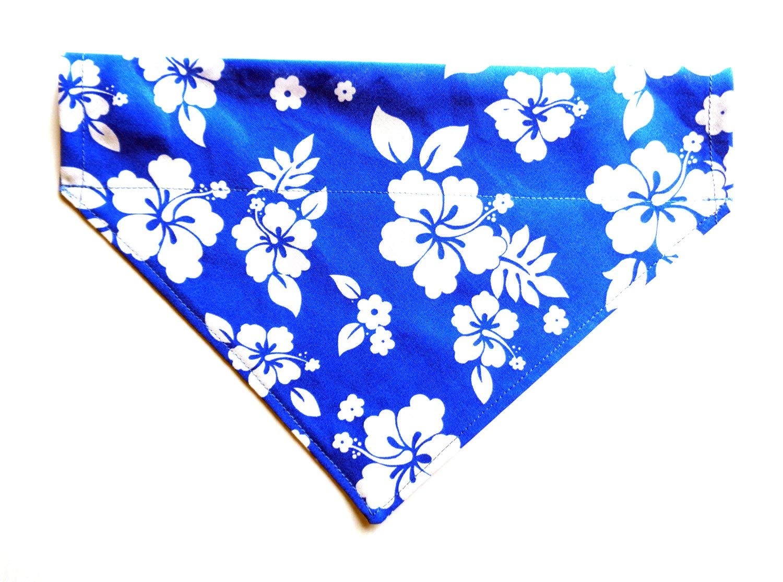 Large Blue Hawaiian Print in White Hibiscus Flowers Prints Dog Bandanna, Over the Collar Slip Thru Thread Through Pet Bib Doo Rag